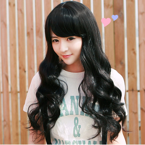 New long Black Fashion Wavy wig